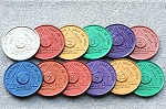 Set of 12 Aluminum AA Coins Months 1-11 & 24 hours